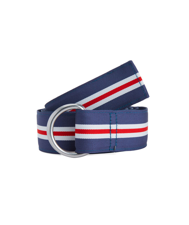 Boys Pop Stripe Ribbon D-Ring Belt