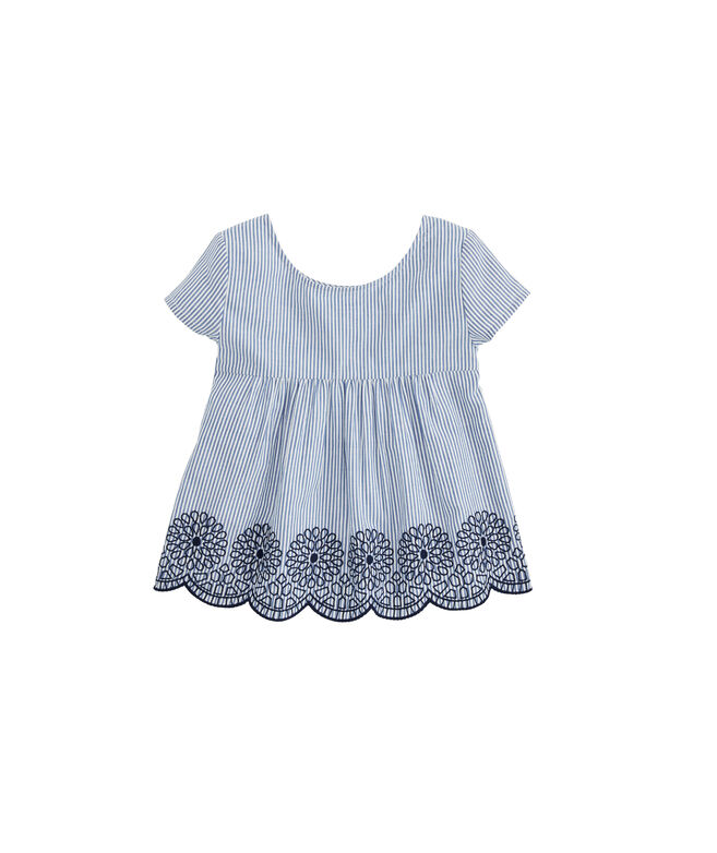 Girls Stripe Embroidered Top