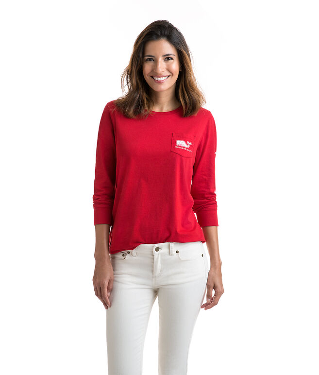 Long-Sleeve Vintage Whale Fill Pocket Tee