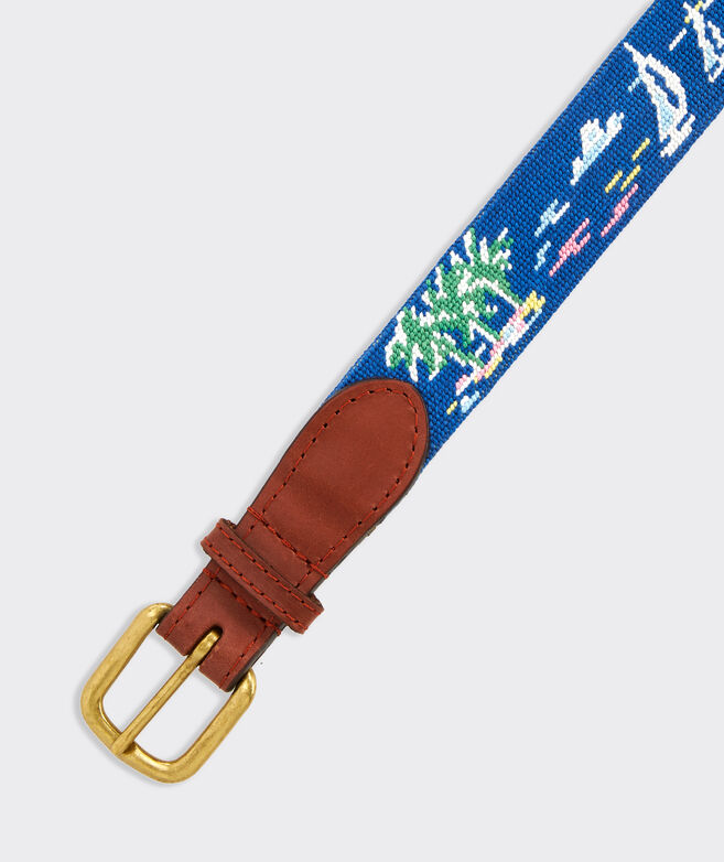 vineyard vines x Smathers & Branson Sailboat Scene Pattern Needlepoint Belt
