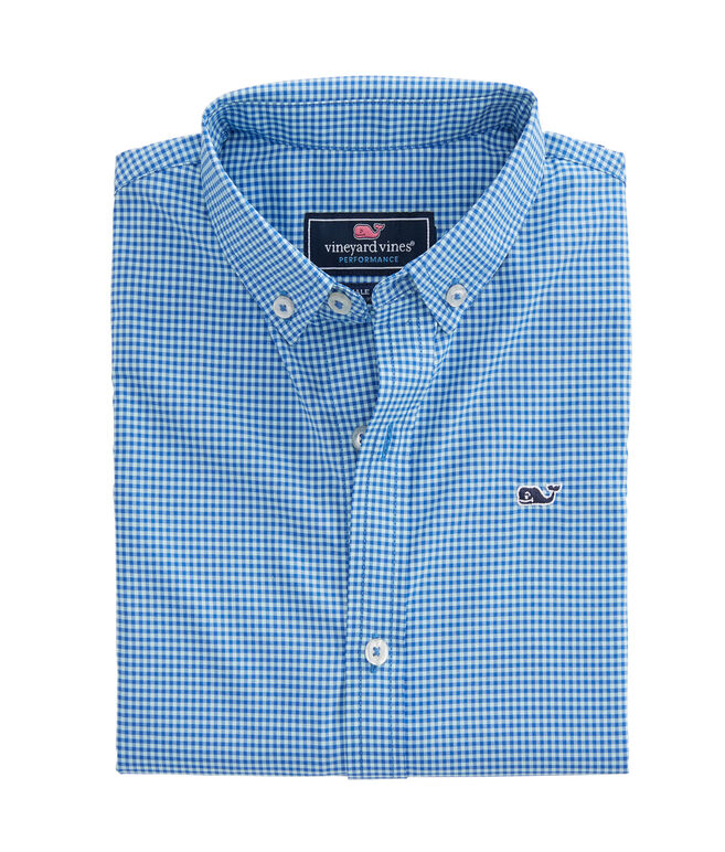 Boys Marina Gingham Performance Whale Shirt