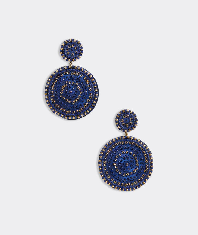 Sequin Beaded Medallion Earrings