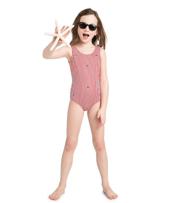 Girls Small Stripe Whale Embroidered One Piece