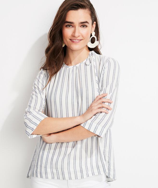 Striped Flowy Tie Shoulder Top