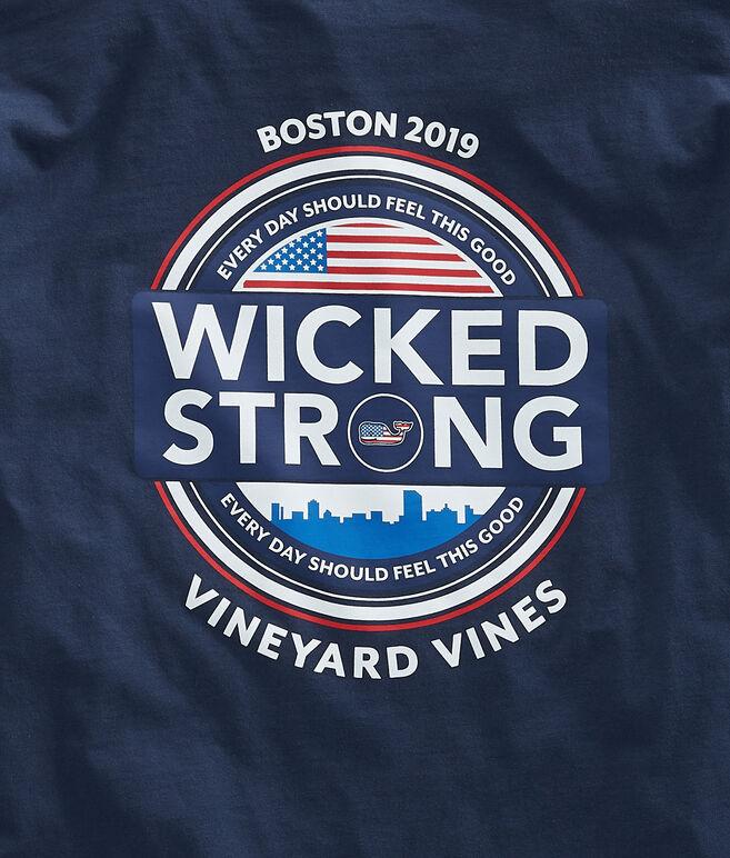 Adult Long-Sleeve Boston Marathon Wicked Strong Circle T-Shirt