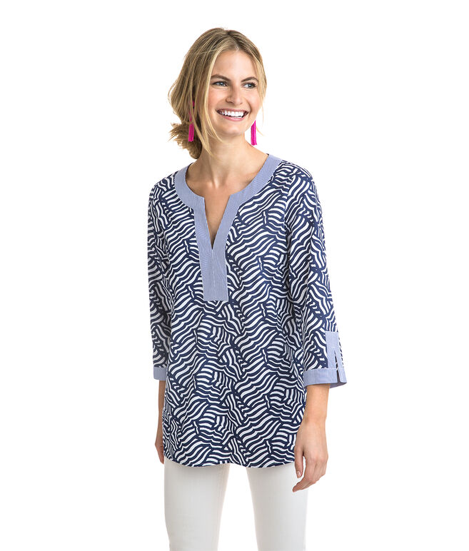 Whale Tail Printed Tunic Top