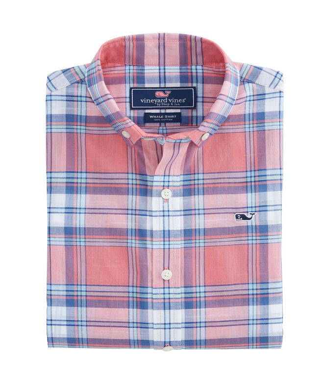 Boys Plaid Beach Tartan Whale Shirt