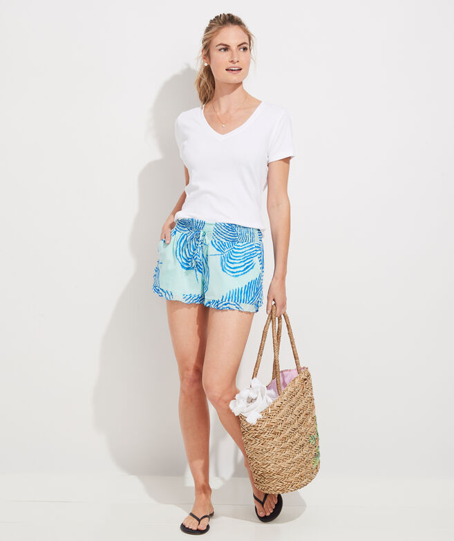 Palm Frond Smocked Ruffle Pull-On Shorts