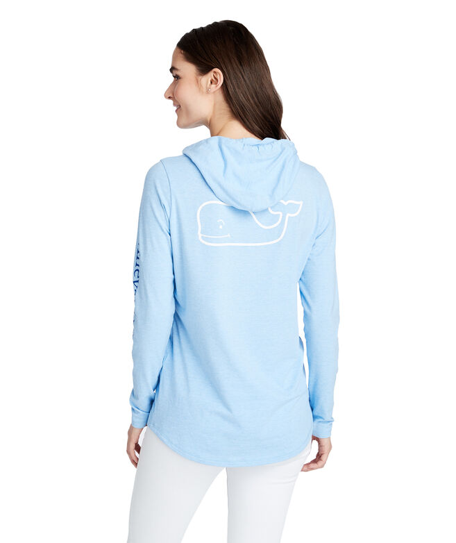 Long-Sleeve Edgartown Tri-Color Vintage Whale Hoodie Tee