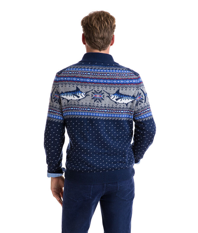 Marlin Pattern 1/4-Zip Sweater