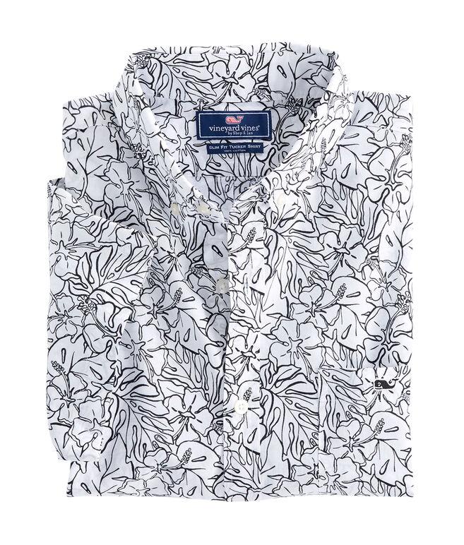 Short-Sleeve Fort Hill Floral Slim Tucker Shirt