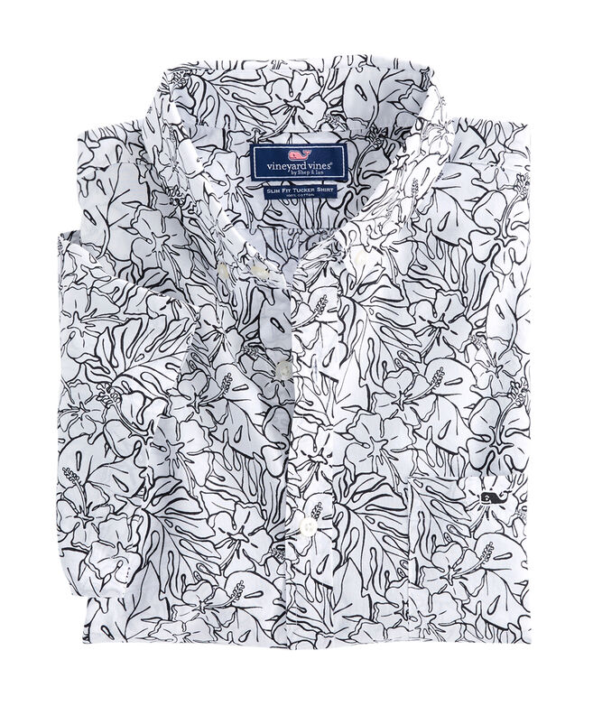 Short-Sleeve Fort Hill Floral Slim Tucker Shirt