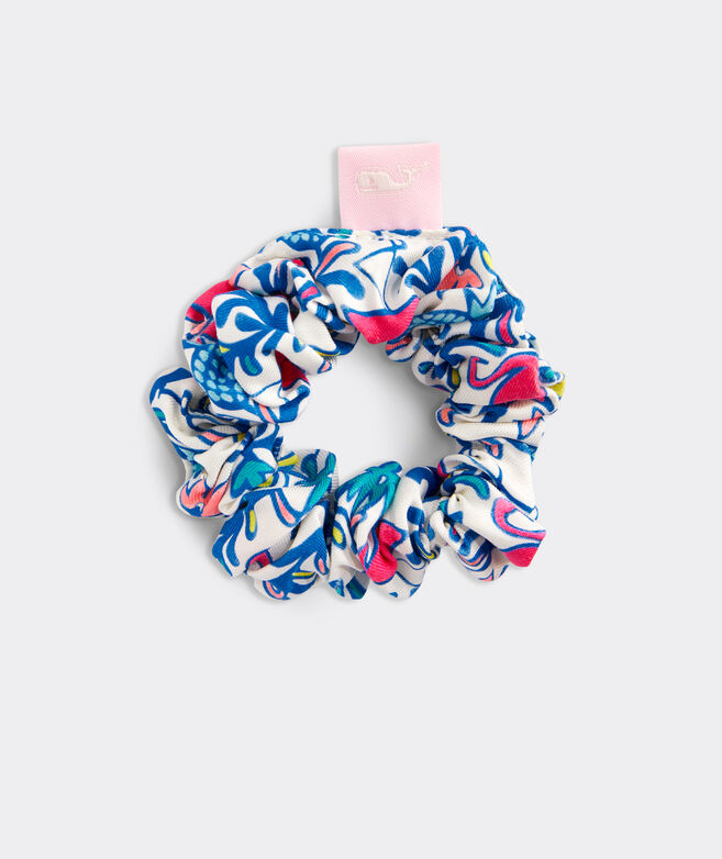 Girls' Watercolor Floral Flamingos Scrunchie