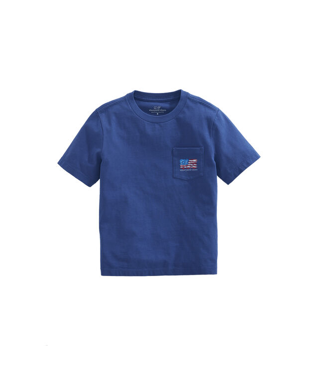Boys School Of Fish Flag Pocket T-Shirt