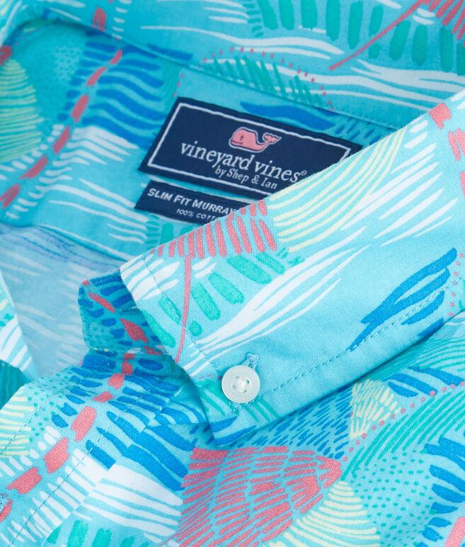 Short-Sleeve Linear Umbrellas Slim Murray Shirt