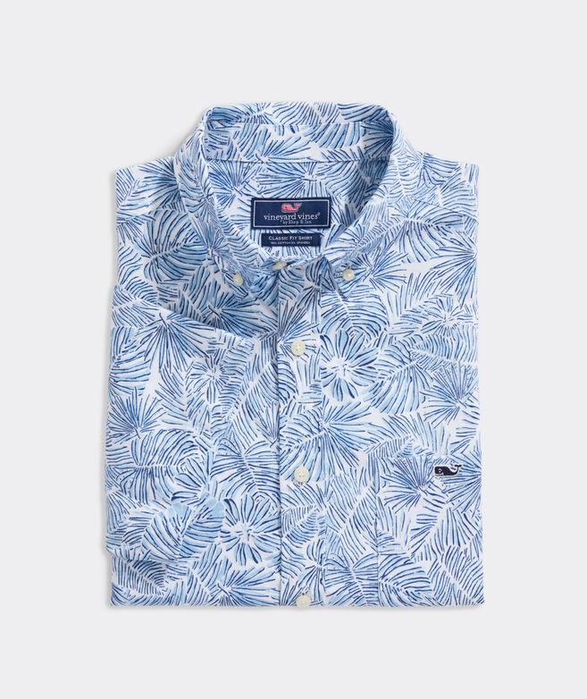 Stretch Cotton Short-Sleeve Palm Print Shirt