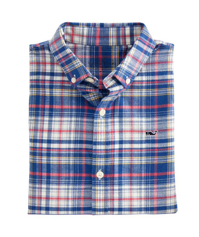Boys Harpers Plaid Flannel Whale Shirt