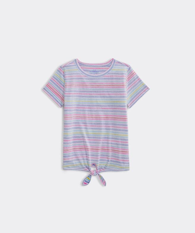 Girls' Beachy Stripe Printed Tie Tee