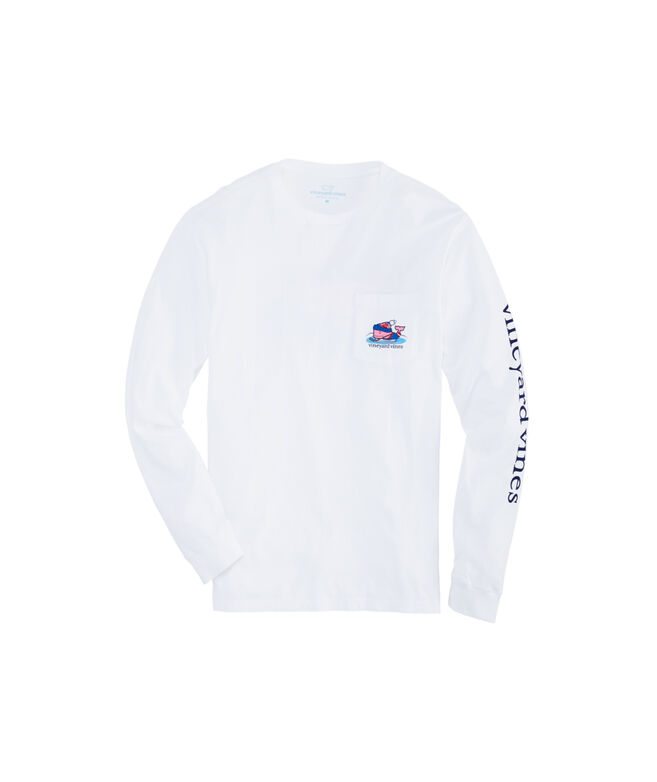 Big & Tall Pond Hockey Whale Long-Sleeve Pocket Tee