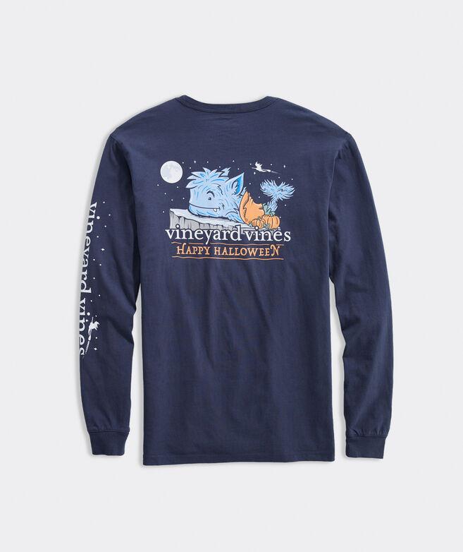 Halloween Werewhale Long-Sleeve Pocket Tee