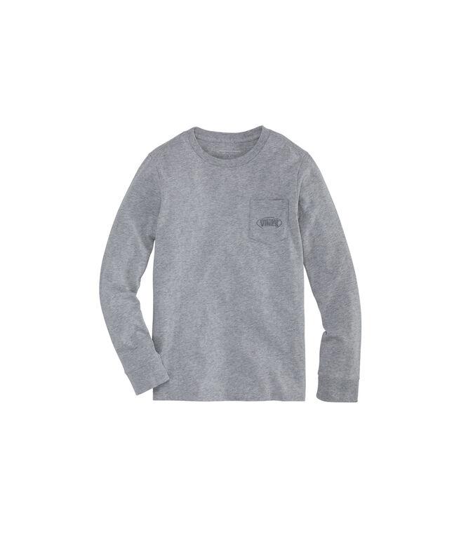 Boys Football Laces Long-Sleeve Pocket T-Shirt