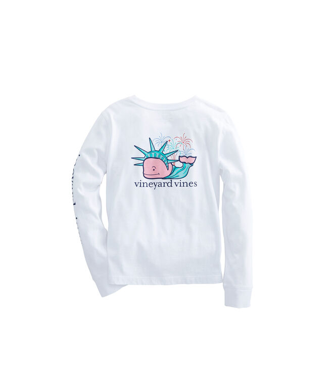 Girls Long-Sleeve Liberty Whale Pocket Tee