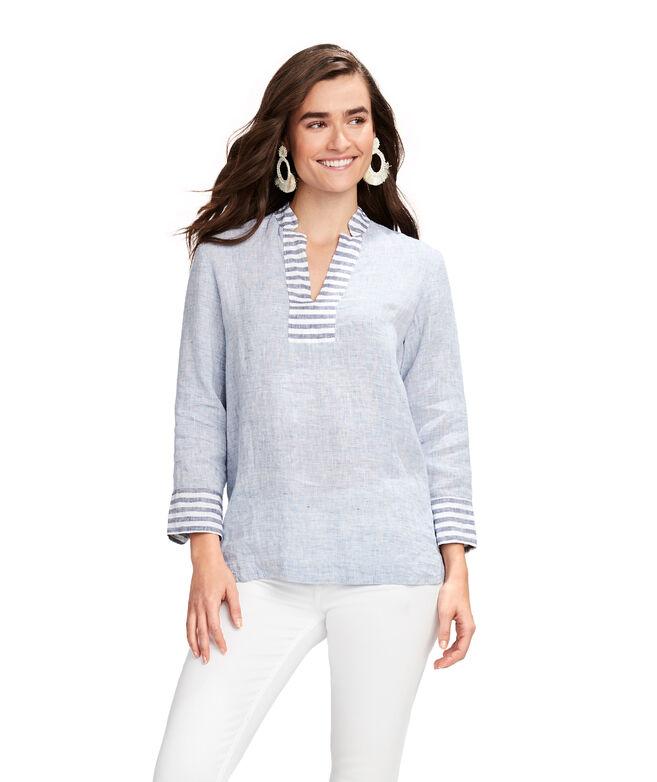 Contrast Stripe Linen Lucaya Tunic