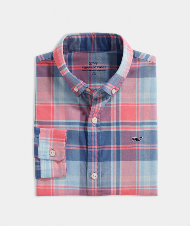 Boys' Bimini Island Madras Whale Button-Down Shirt