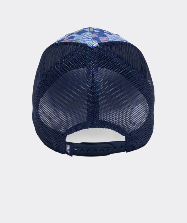 Kentucky Derby Patchwork Whale Dot Trucker Hat