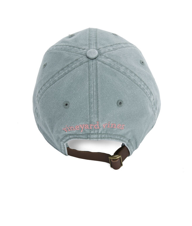 Garment Dyed Logo Leather Strap Baseball Hat