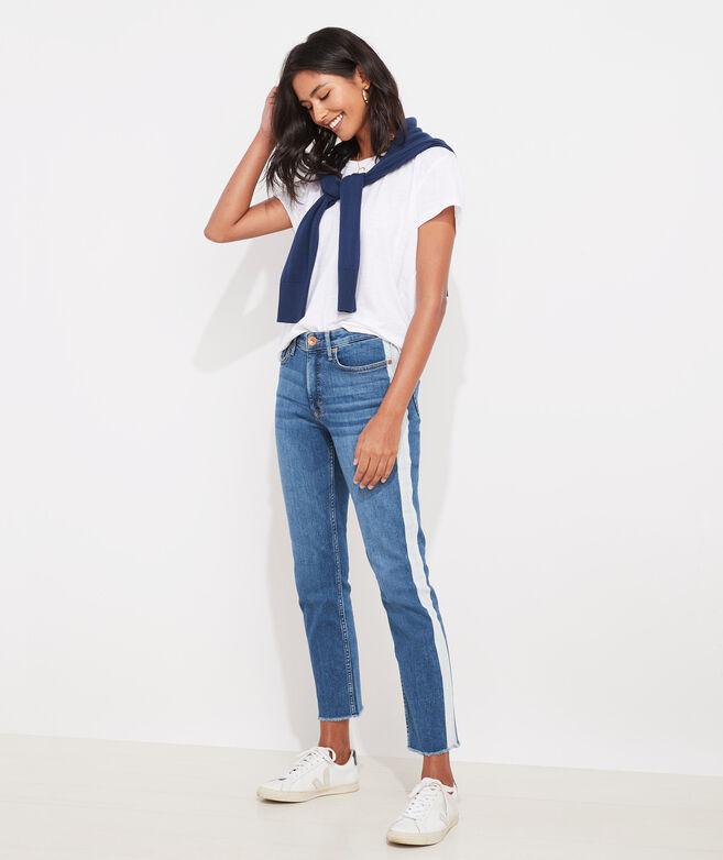 Limited-Edition Jamie High-Rise Straight Crop Bleach-Stripe Jeans
