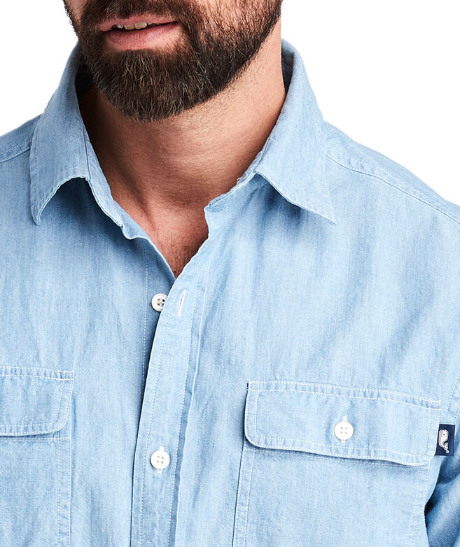 Classic Fit Sea Breeze Solid Dockman Shirt
