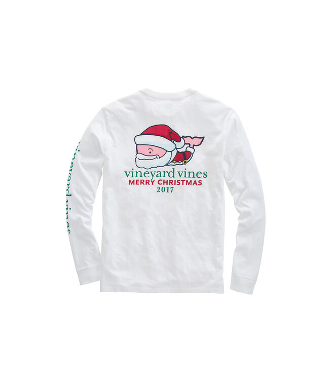 Long-Sleeve Mr. Claus Whale Pocket T-Shirt