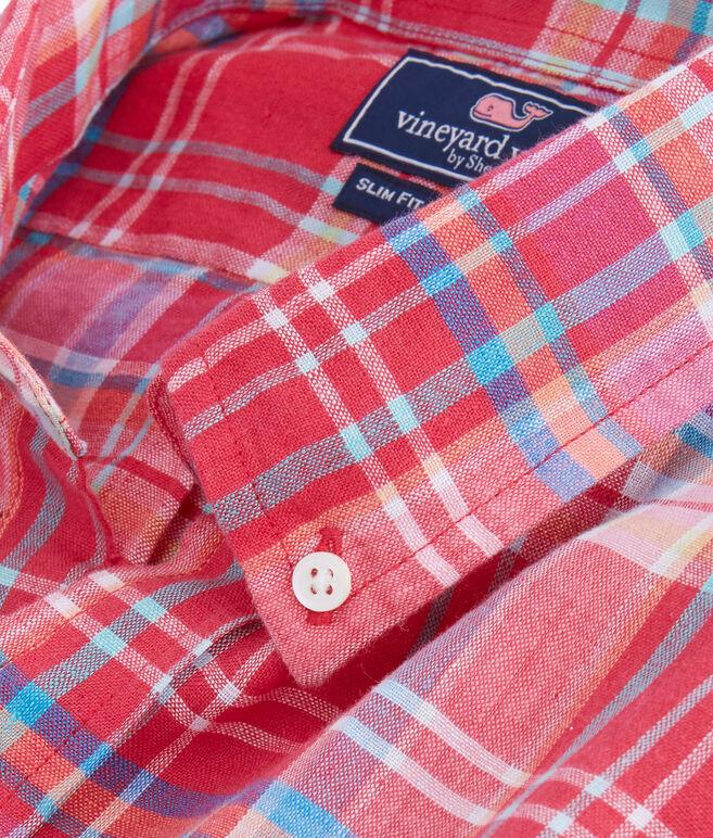 Short-Sleeve Beach Rose Plaid Slim Tucker Shirt