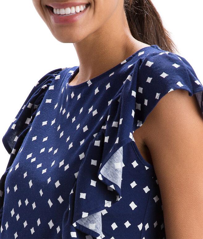 Diamond Print Sleeveless Ruffle Knit Top