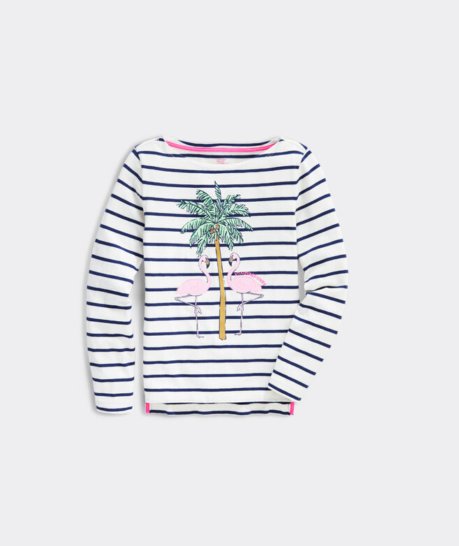 Girls' Flashy Flamingo Long-Sleeve Boatneck Tee