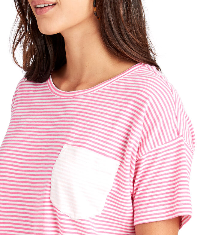 Contrast Striped Pocket Tee