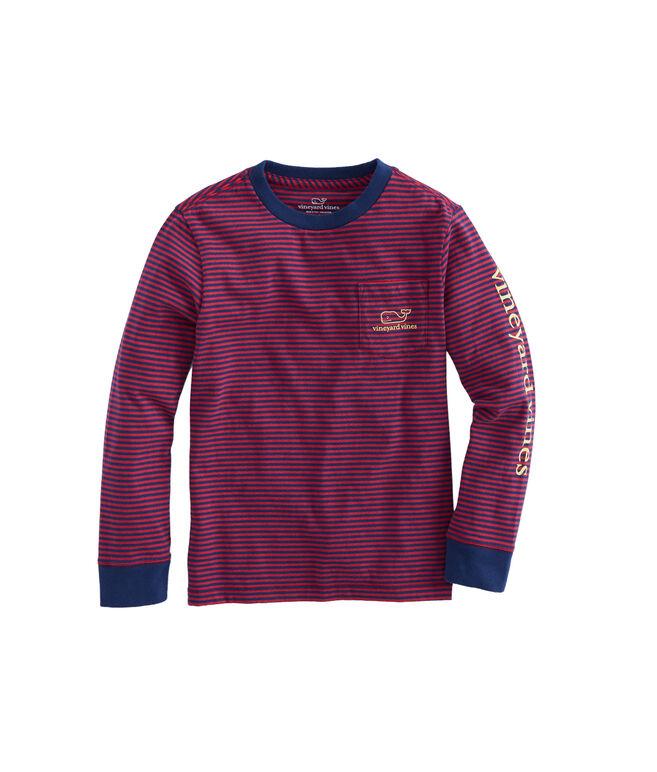 Boys Long-Sleeve Stripe Vintage Whale Pocket T-Shirt
