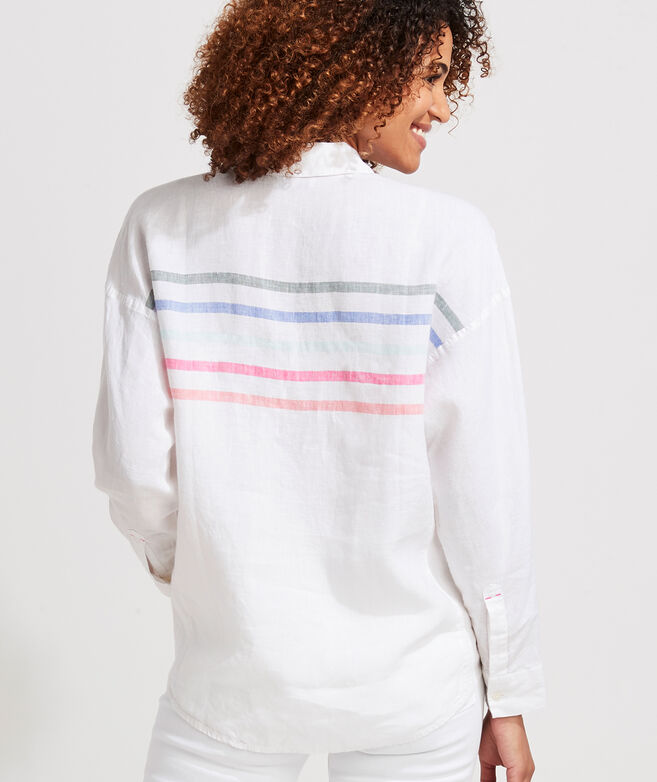 Rainbow Linen Weekend Button-Down