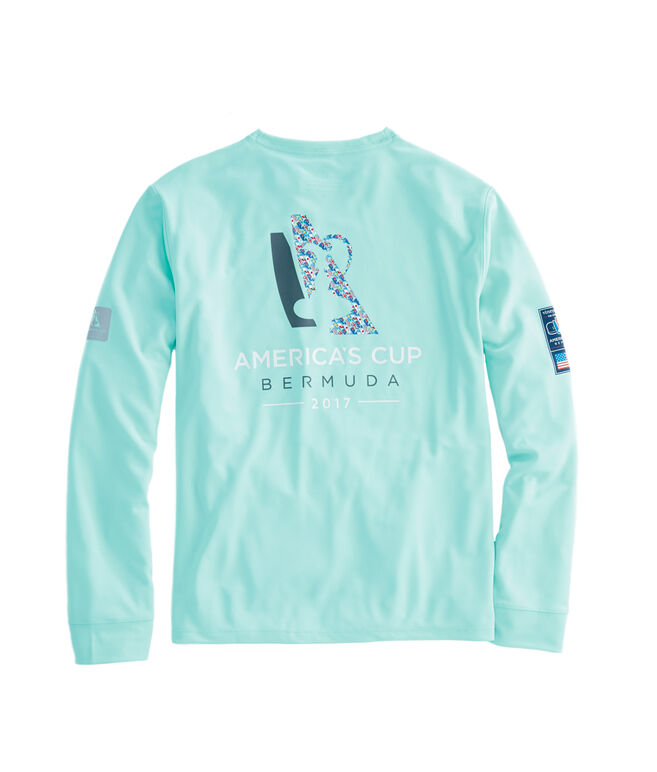 Long-Sleeve Performance Flag Whale Logo T-Shirt