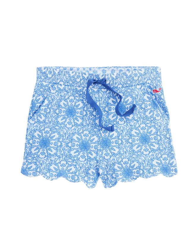 Girls Scallop Print Pull-On Shorts