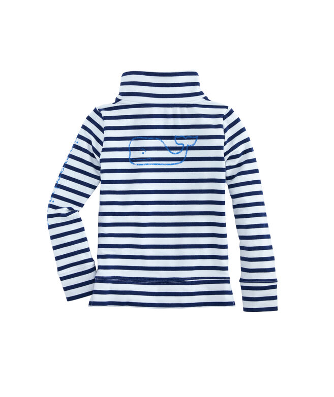 Girls Long-Sleeve Sandpiper Stripe Vintage Whale Snap Popover