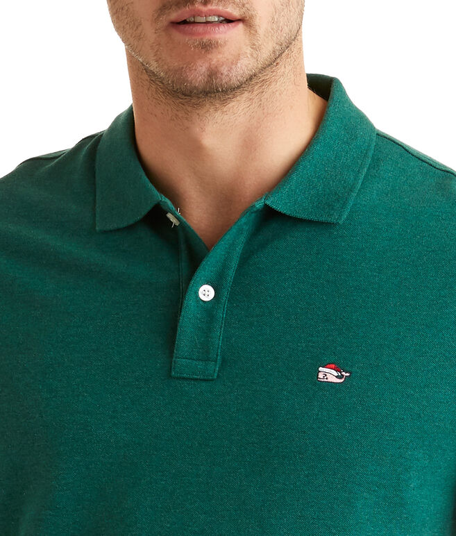 Santa Whale Stretch Pique Heathered Polo