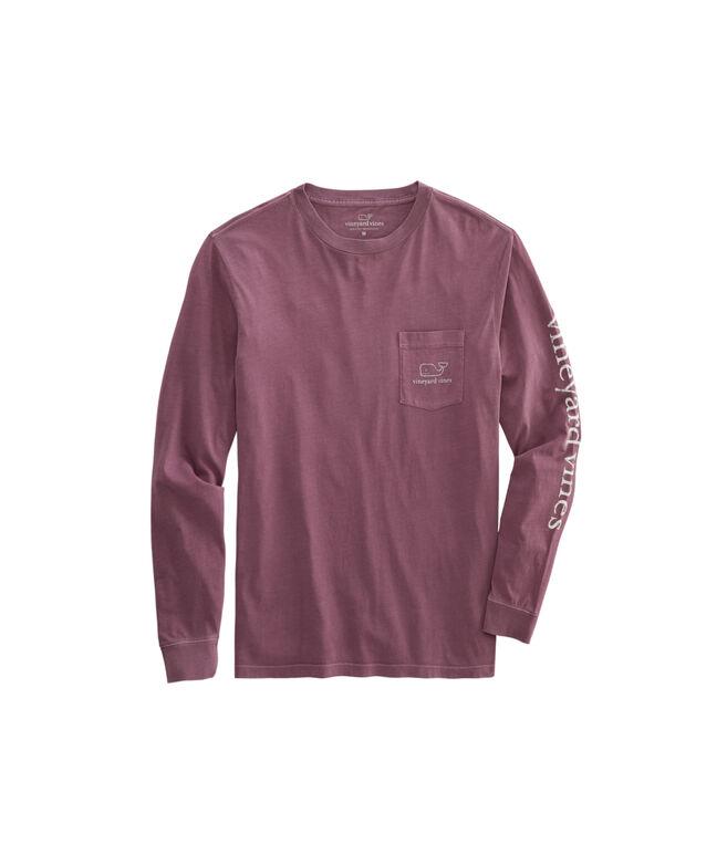 Garment-Dyed Vintage Whale Long-Sleeve Pocket T-Shirt