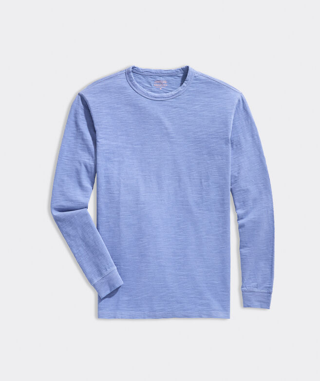 Garment-Dyed Slub Long-Sleeve Island Crewneck