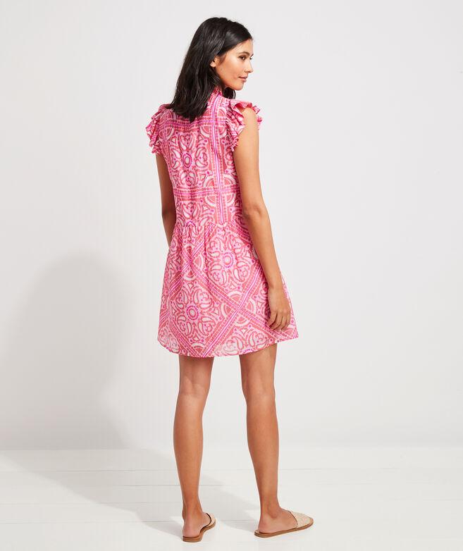 Island Scarf Print Ruffle Dress