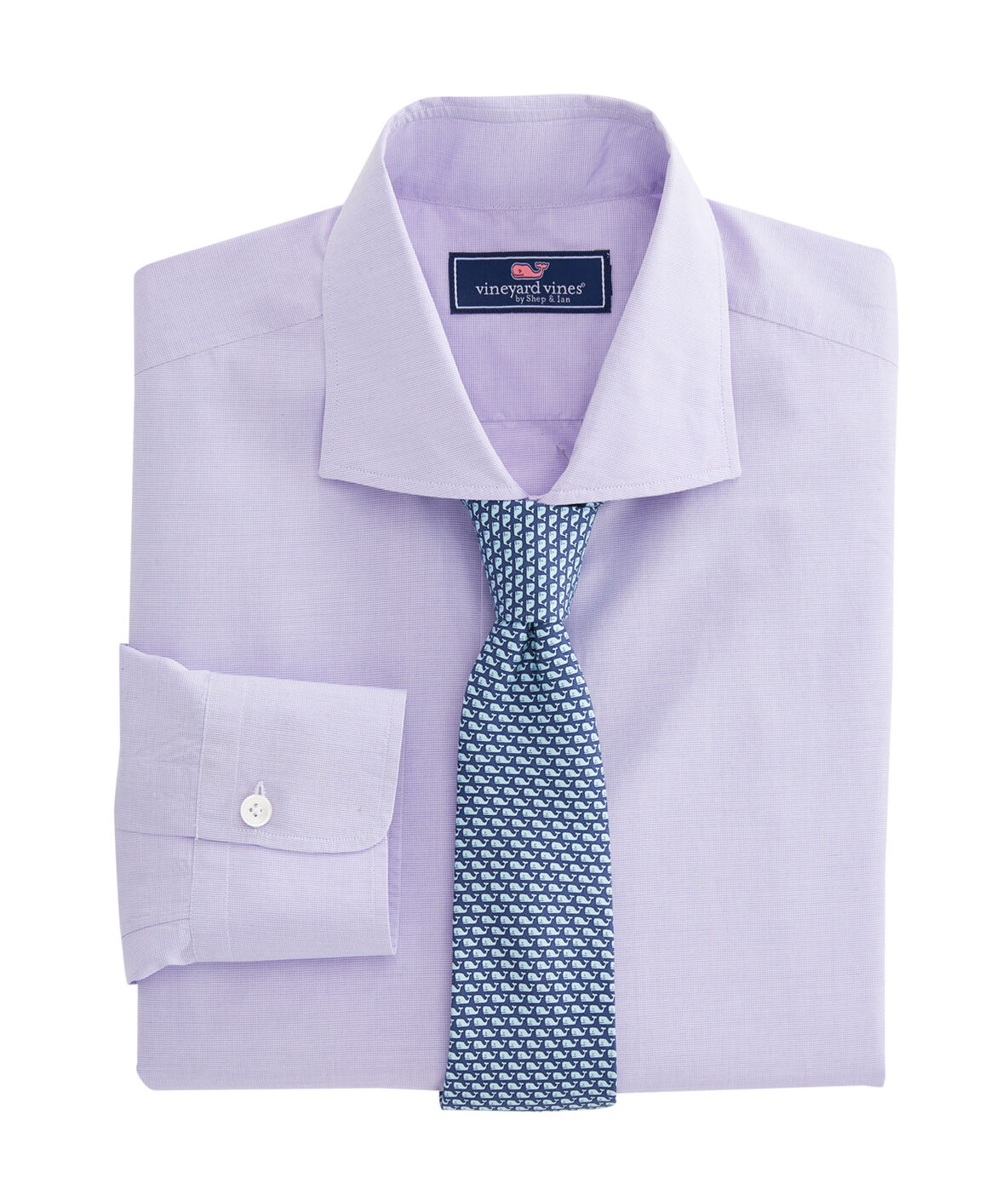 Shop purple micro check spread collar greenwich shirt at for Spread collar dress shirt without tie