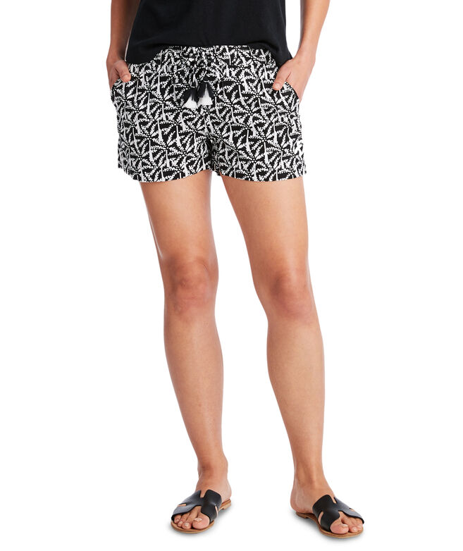 Allover Palm Linen Pull-On Shorts