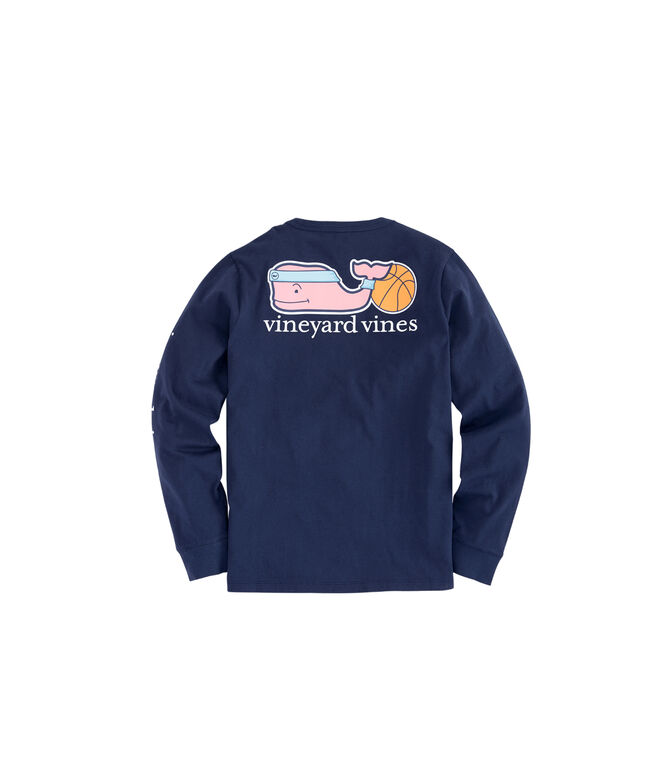 Boys Long-Sleeve Basketball Whale Pocket T-Shirt
