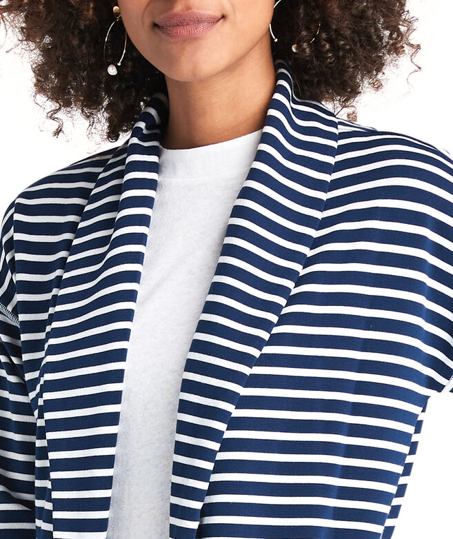 Striped Cozy Open Front Cardigan
